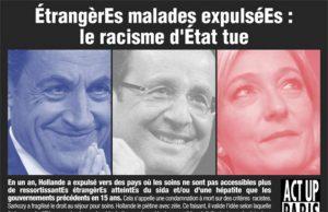 """Tract d'Act Up : """"EtrangèrEs malades expulséEs : le racisme d'Etat tue"""" (portaits de Sarkozy, Hollande et Le Pen sur fond de drapeau français)"""