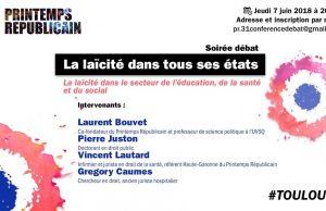 Invitation du Printemps républicain à une réunion publique à Toulouse et où les 4 intervenants sont tous des hommes cisgenres